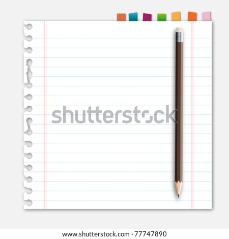 Lined paper pencil and reminder note - stock vector