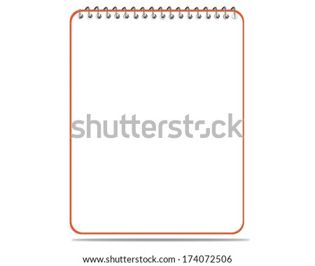 Lined spiral notepad on white - stock vector