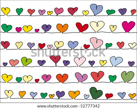 lined up very colorful vector hearts