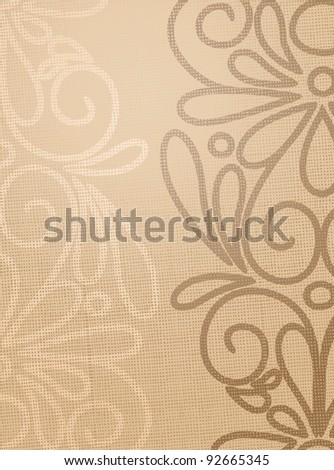 Linen beige structure with pattern drawing - stock vector