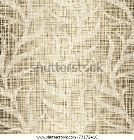 Linen beige structure with vegetative drawing - stock vector