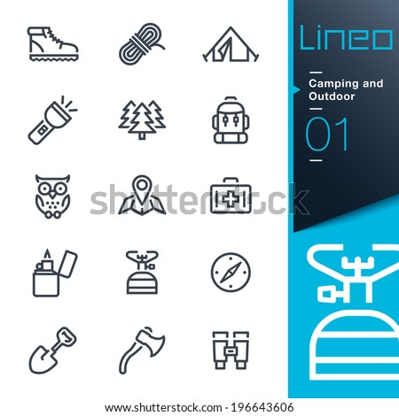 Lineo - Camping and Outdoor outline icons - stock vector