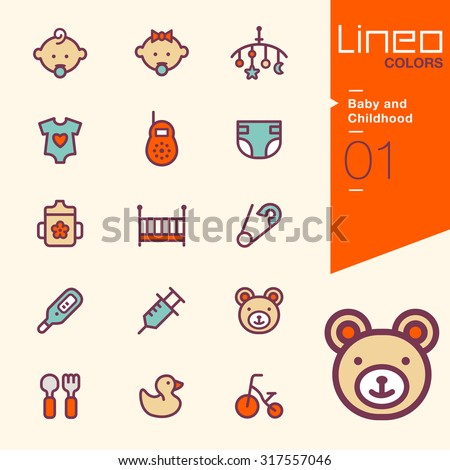 Lineo Colors - Baby and Childhood icons - stock vector