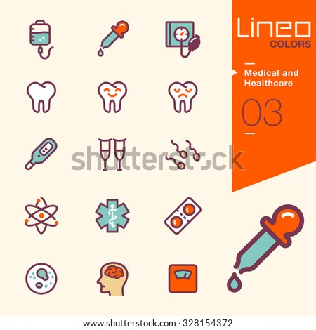 Lineo Colors - Medical and Healthcare icons - stock vector