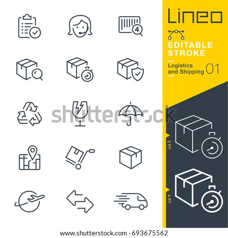 Lineo Editable Stroke - Logistics and Shipping line icons Vector Icons - Adjust stroke weight - Expand to any size - Change to any colour