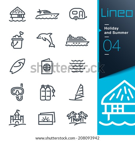 Lineo - Holiday and Summer outline icons - stock vector