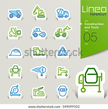 Lineo Papercut - Construction and Tools outline icons  - stock vector