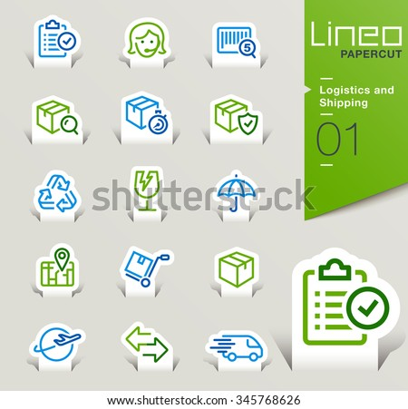 Lineo Papercut - Logistics and Shipping outline icons - stock vector