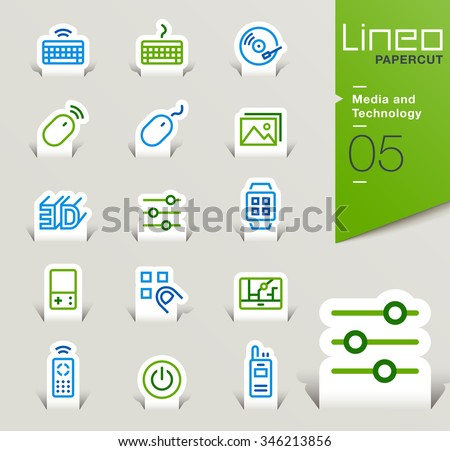 Lineo Papercut - Media and Technology outline icons - stock vector