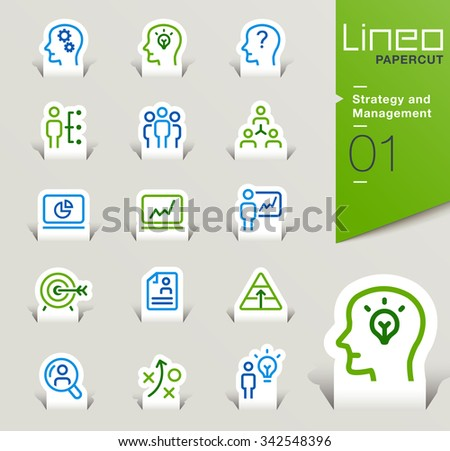 Lineo Papercut - Strategy and Management outline icons - stock vector