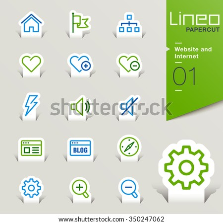 Lineo Papercut - Website and Internet outline icons - stock vector
