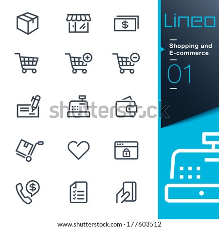 Lineo - Shopping and E-commerce outline icons - stock vector