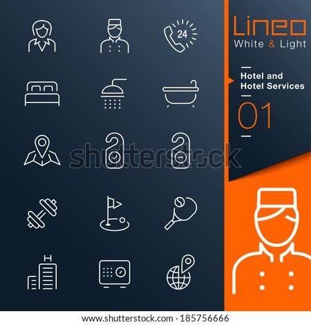 Lineo White & Light - Hotel and Hotel Services outline icons - stock vector