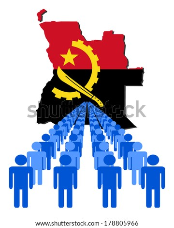Lines of people with Angola map flag vector illustration  - stock vector