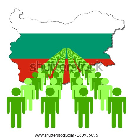 Lines of people with Bulgaria map flag vector illustration - stock vector