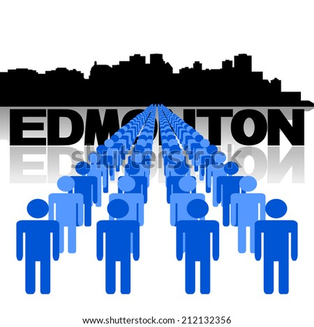 Lines of people with Edmonton skyline vector illustration