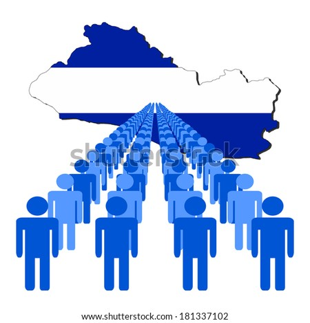 Lines of people with El Salvador map flag vector illustration - stock vector