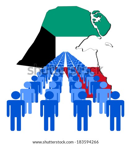 Lines of people with Kuwait map flag vector illustration - stock vector