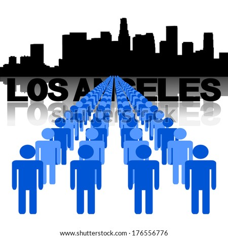 Lines of people with Los Angeles skyline vector illustration - stock vector