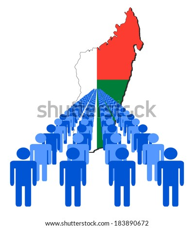 Lines of people with Madagascar map flag vector illustration - stock vector