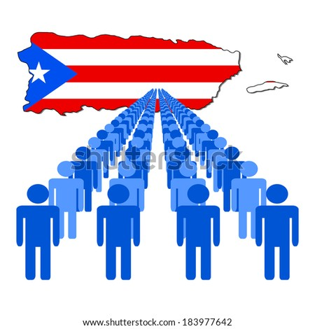 Lines of people with Puerto Rico map flag vector illustration - stock vector