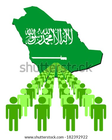 Lines of people with Saudi Arabia map flag vector illustration - stock vector