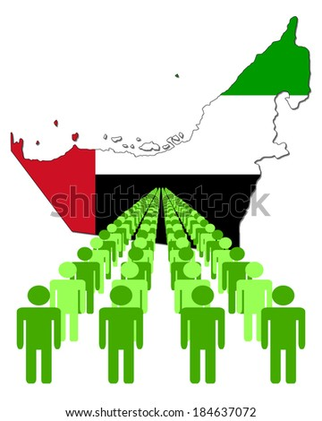 Lines of people with United Arab Emirates map flag vector illustration  - stock vector