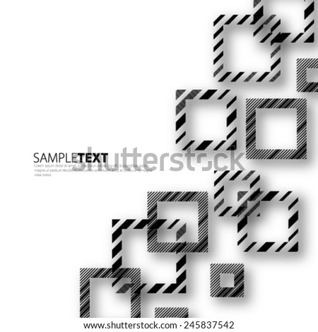 Lines on Squares Black and White Background - stock vector