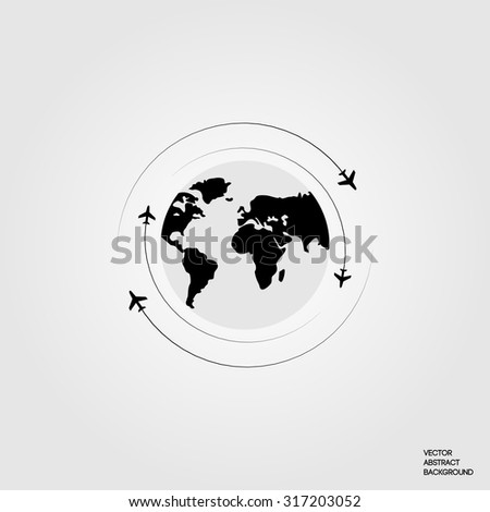 Lines. Silhouette airplane. Roundabout Circulation. Flight around the world. Earth. Map of the ground. Airplane and globe.  Flights of planes around the Earth. Plane on the background Earth - stock vector