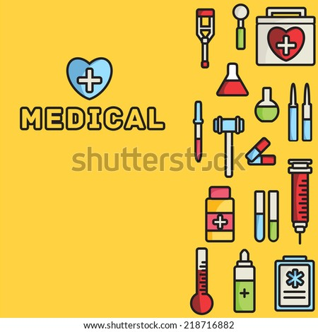 lines style medical equipment set icons concept background. vector illustration design - stock vector