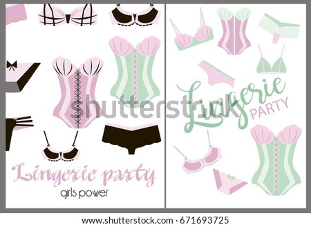 Invitation Cards For Ladies Party. Lingerie party invitation cards with beautiful underwear Party Invitation Cards Beautiful Underwear Stock Vector