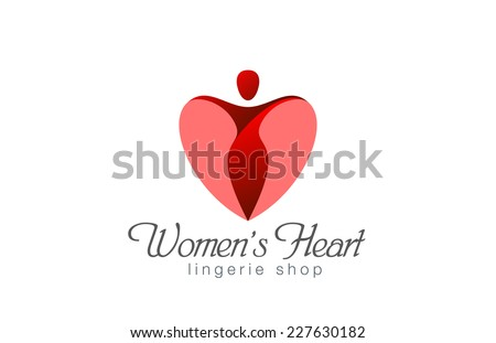 Lingerie shop logo design vector template. Heart Valentine day concept. Woman love passion fashion logotype. Female Spa creative icon. - stock vector