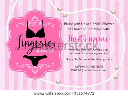 Lingerie shower invitation card with stripe and pearl necklace background