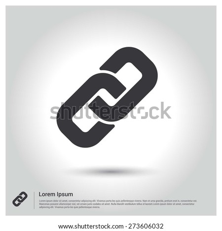 Link Chain Icon, pictogram icon on gray background. Flat design style - stock vector