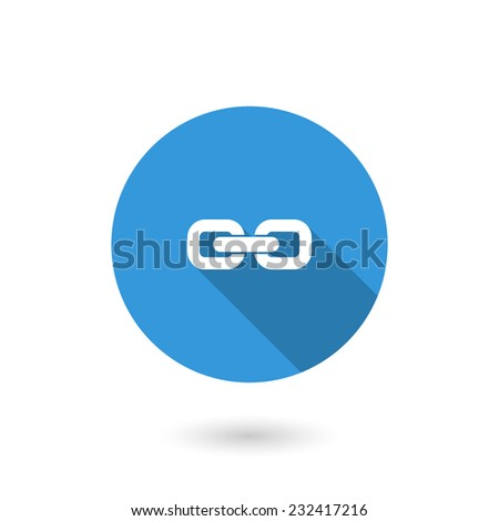 Link icon. Flat icon with long shadow - stock vector