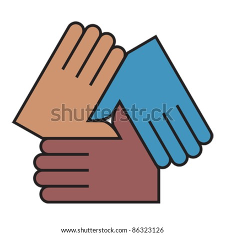 Linked hands icon - stock vector