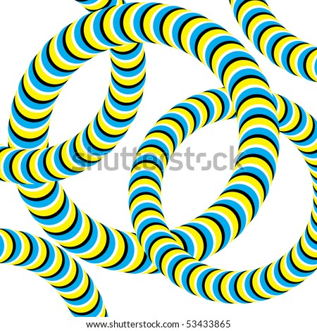 Linked Wrigglers (motion illusion) - stock vector