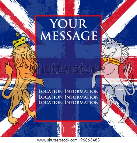Lion and the Unicorn Background illustration with a Union Jack for a British Royal occasion or Jubilee - stock vector