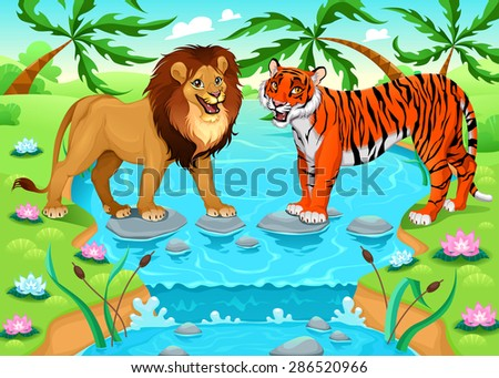 Lion and tiger together in the jungle. Cartoon vector illustration - stock vector