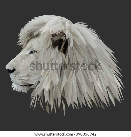 Lion cat animal low poly design. Triangle vector illustration. - stock vector