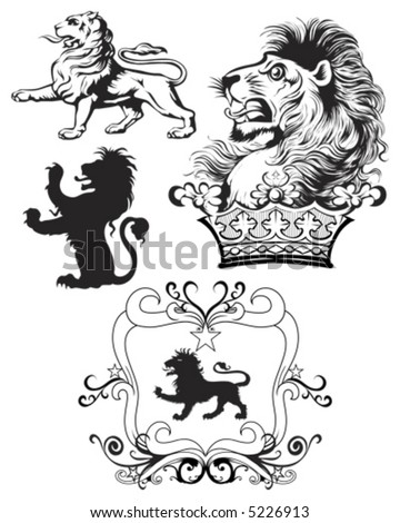 Lion Crest Pack - stock vector