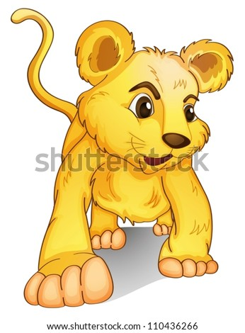 Lion cub on a white background - stock vector