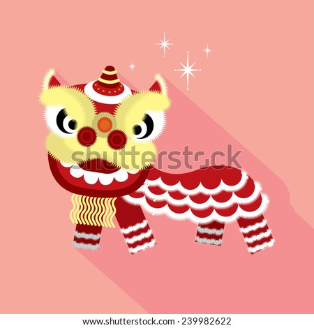 lion dance flat design long shadow vector/illustration