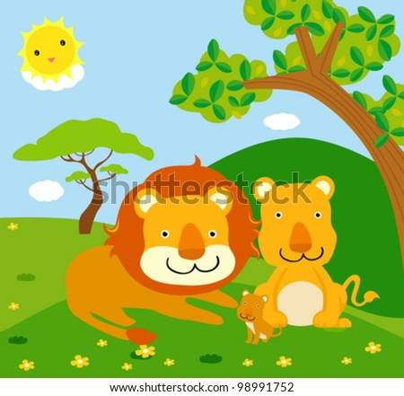 lion family, wild animals - stock vector