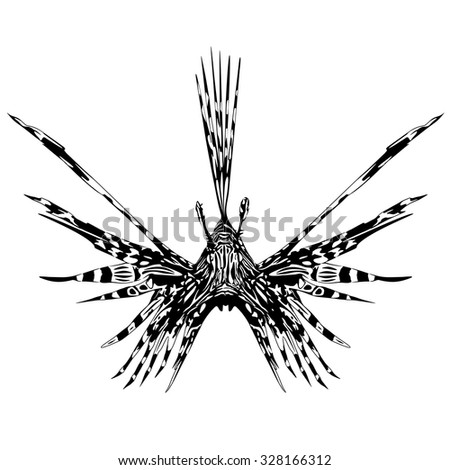 Lion Fish Tattoo Style - stock vector