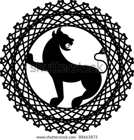lion griffin crest two pieces - stock vector