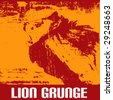 Lion Grunge - stock vector