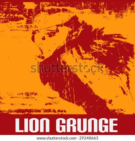 Lion Grunge - stock vector