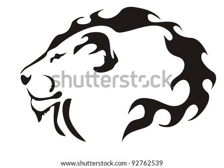 Lion head. Black on white - stock vector