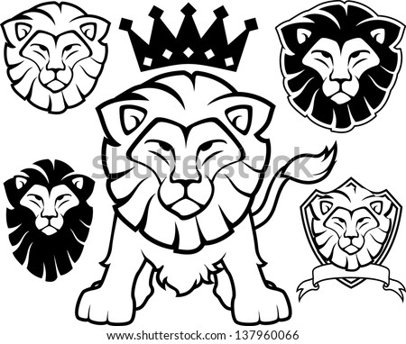 lion head designs isolated on white background, in vector format very easy to edit, individual objects